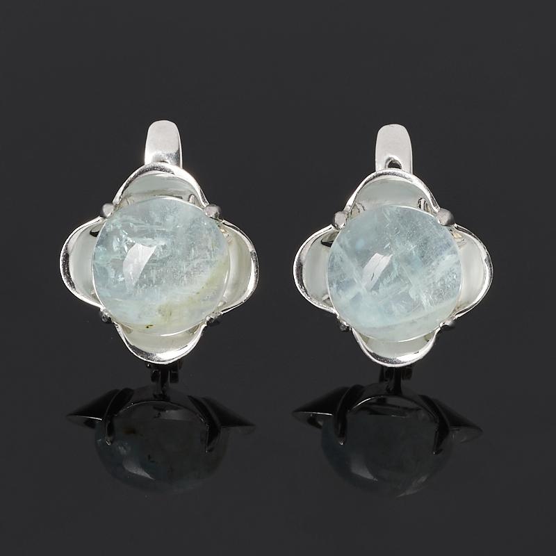 Серьги аквамарин (серебро 925 пр. родир. бел.)
