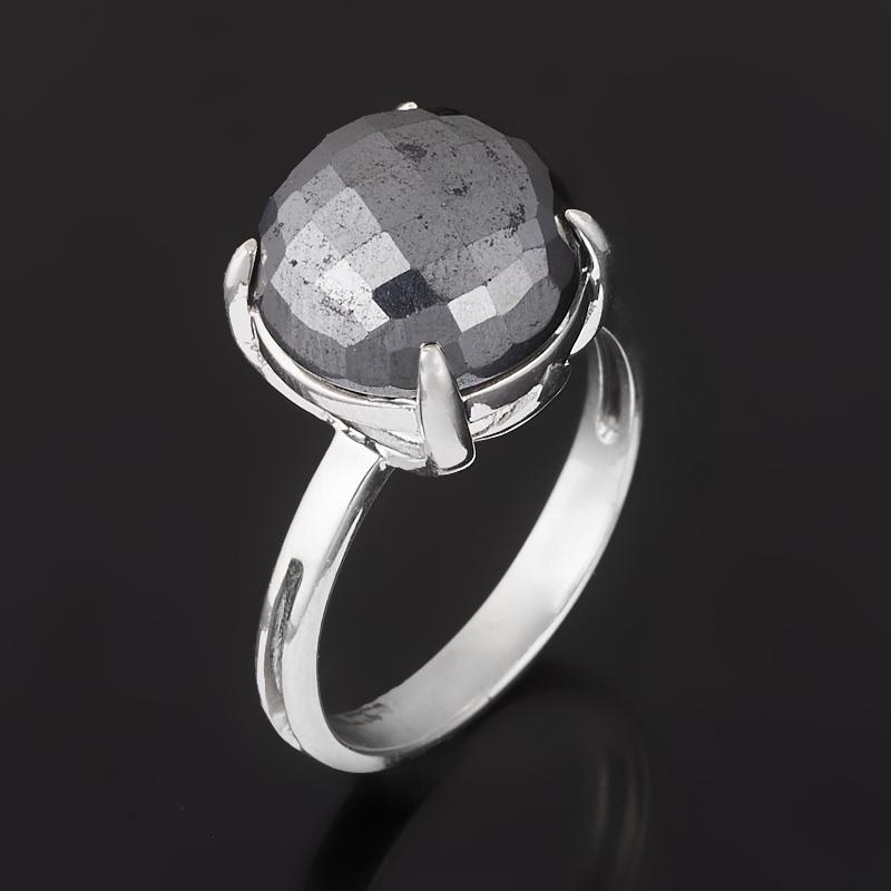 Кольцо гематит (серебро 925 пр. родир. бел.) огранка размер 18