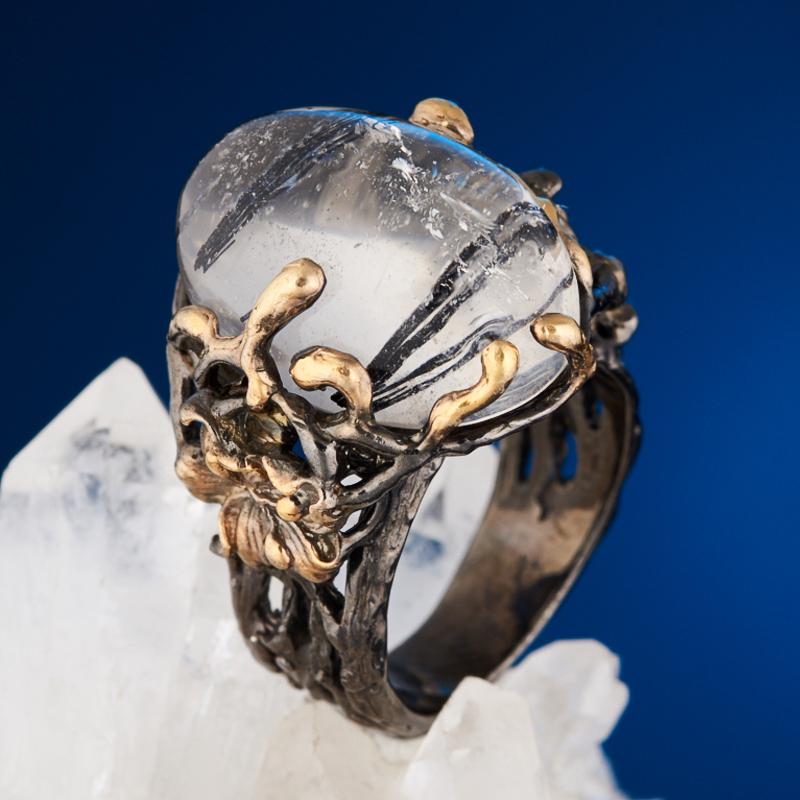 Кольцо кварц с турмалином (серебро 925 пр. позолота, родир. черн.) размер 18