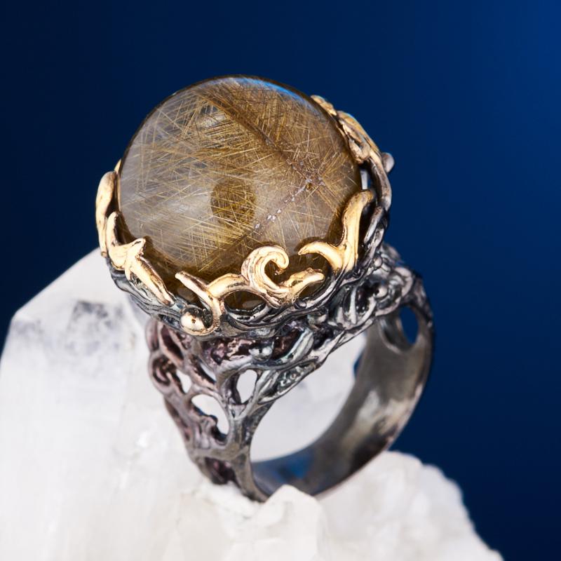 Кольцо рутиловый кварц (серебро 925 пр. позолота, родир. черн.) размер 17 стоимость