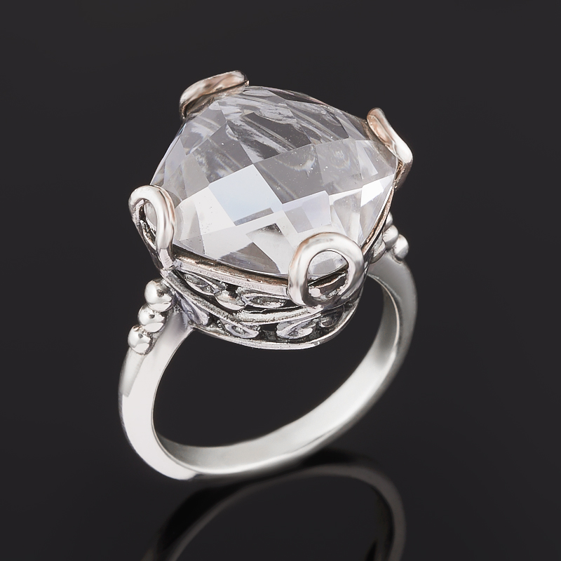 Кольцо горный хрусталь (серебро 925 пр. оксидир.) огранка размер 18,5