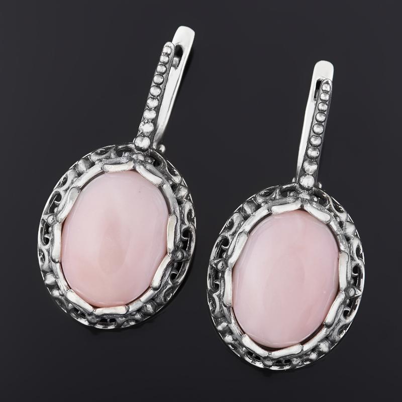 Серьги опал розовый (серебро 925 пр. оксидир.)