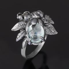 Кольцо аквамарин Россия (серебро 925 пр. родир. черн.) размер 17,5