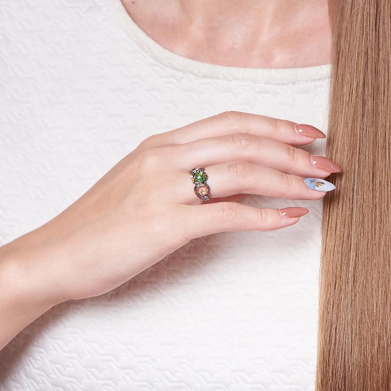 Кольцо турмалин зеленый (верделит) Бразилия (серебро 925 пр. позолота, родир. сер.) размер 16,5