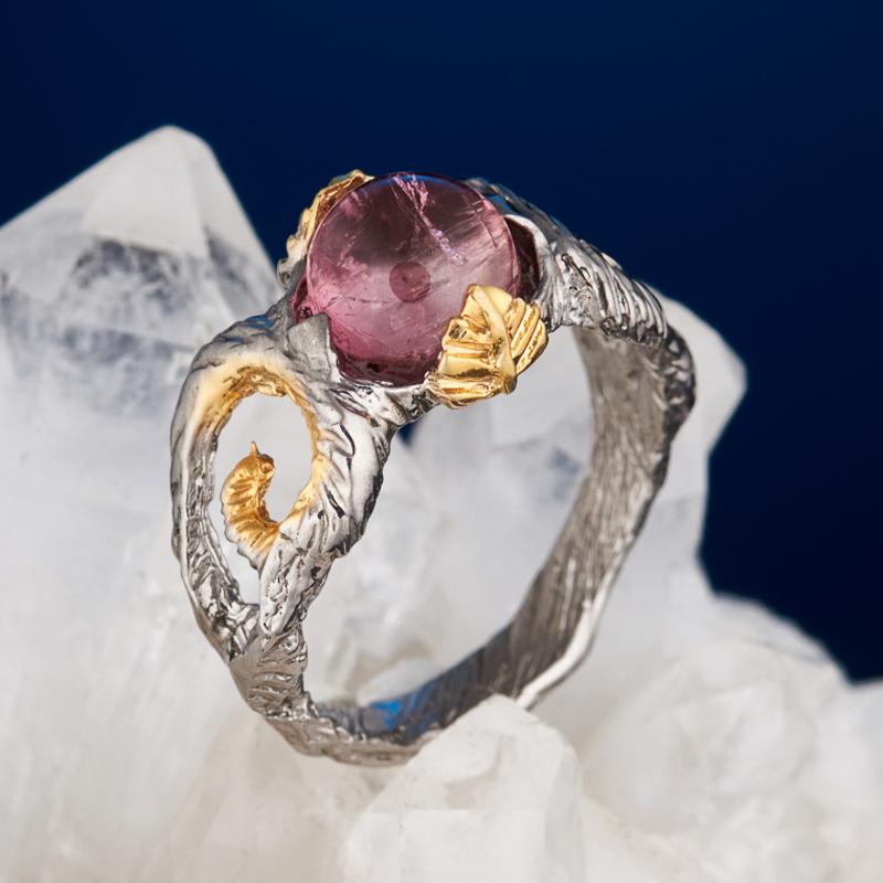 Кольцо турмалин розовый (рубеллит) (серебро 925 пр. позолота, родир. сер.) размер 15,5
