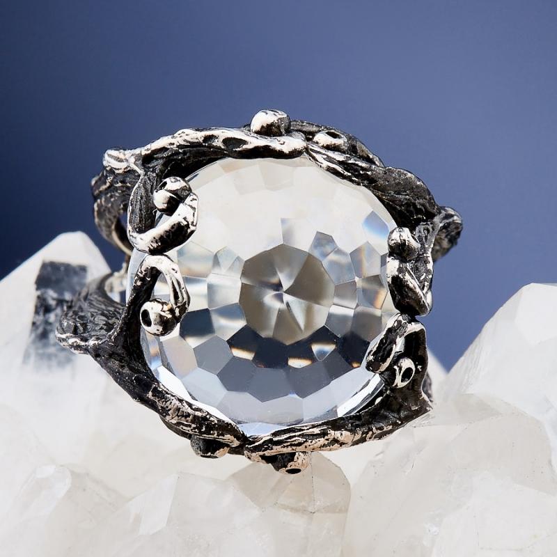 Кольцо горный хрусталь Бразилия (серебро 925 пр. оксидир.) огранка размер 17,5