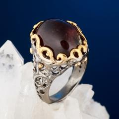 Кольцо турмалин розовый (рубеллит) Россия (серебро 925 пр. позолота, родир. черн.) размер 16