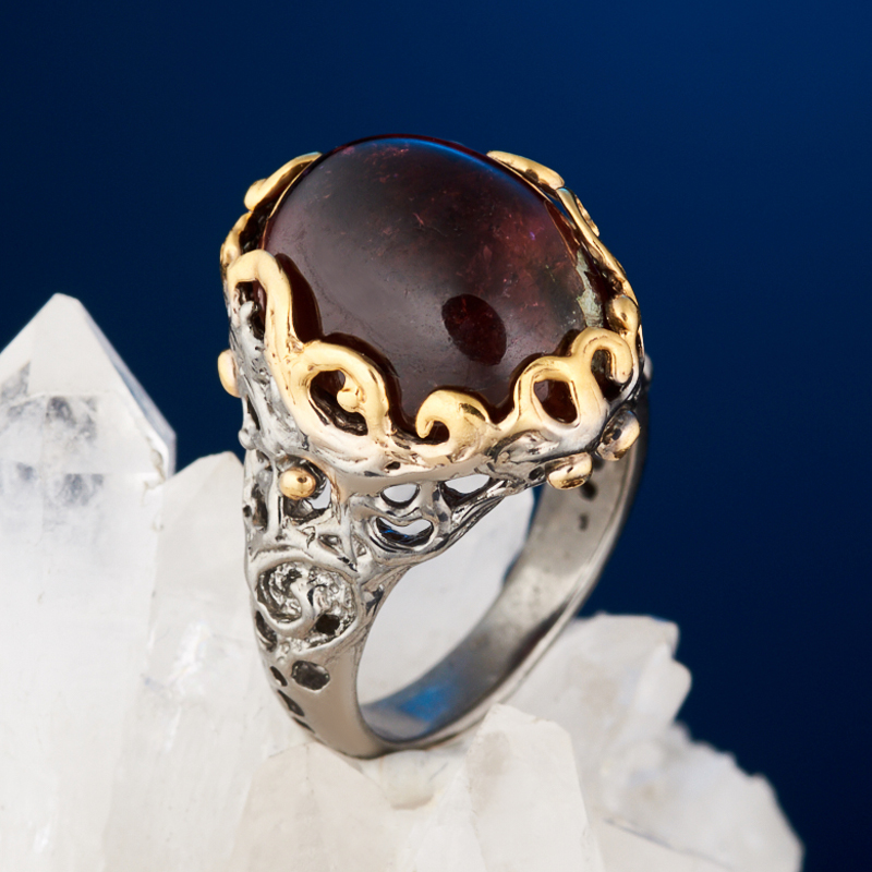 Кольцо турмалин розовый (рубеллит) (серебро 925 пр. позолота, родир. черн.) размер 16 сандалии для девочки скороход цвет ярко розовый 16 282 1 размер 23