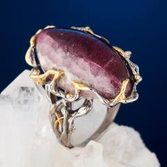 Кольцо турмалин розовый (рубеллит) Россия (серебро 925 пр. позолота, родир. сер.) размер 18