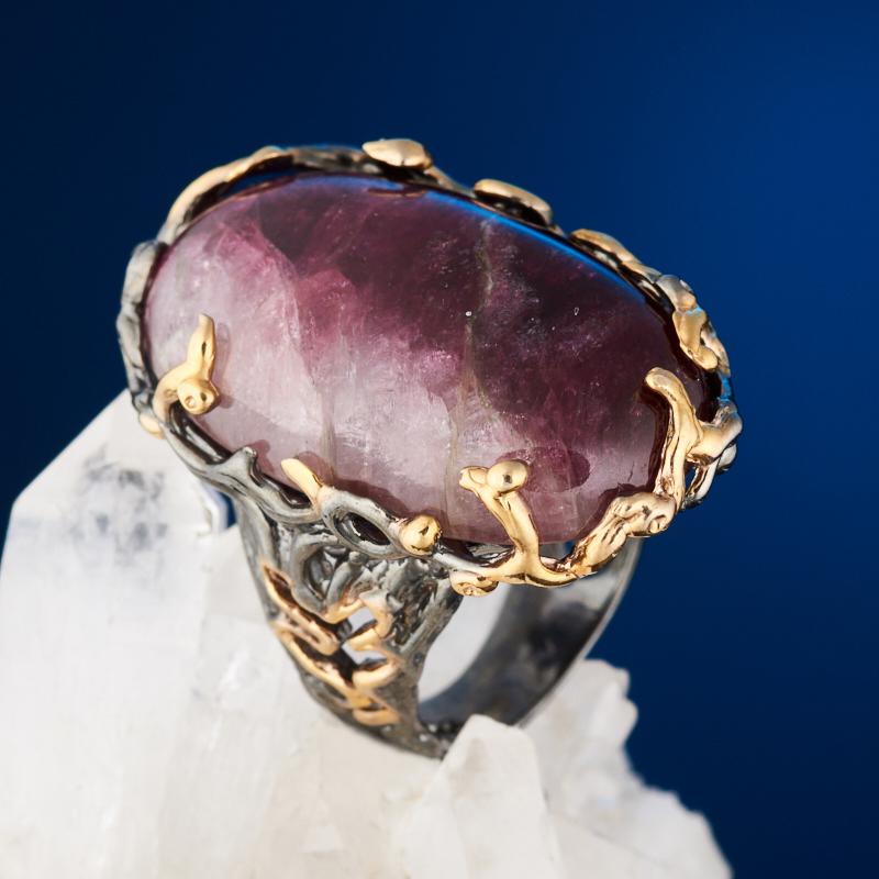 Кольцо турмалин розовый (рубеллит) (серебро 925 пр. позолота, родир. сер.) размер 17,5