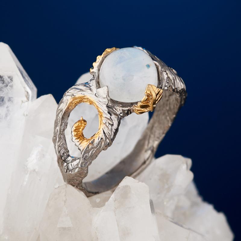 Кольцо лунный камень (серебро 925 пр. позолота, родир. сер.) размер 16,5