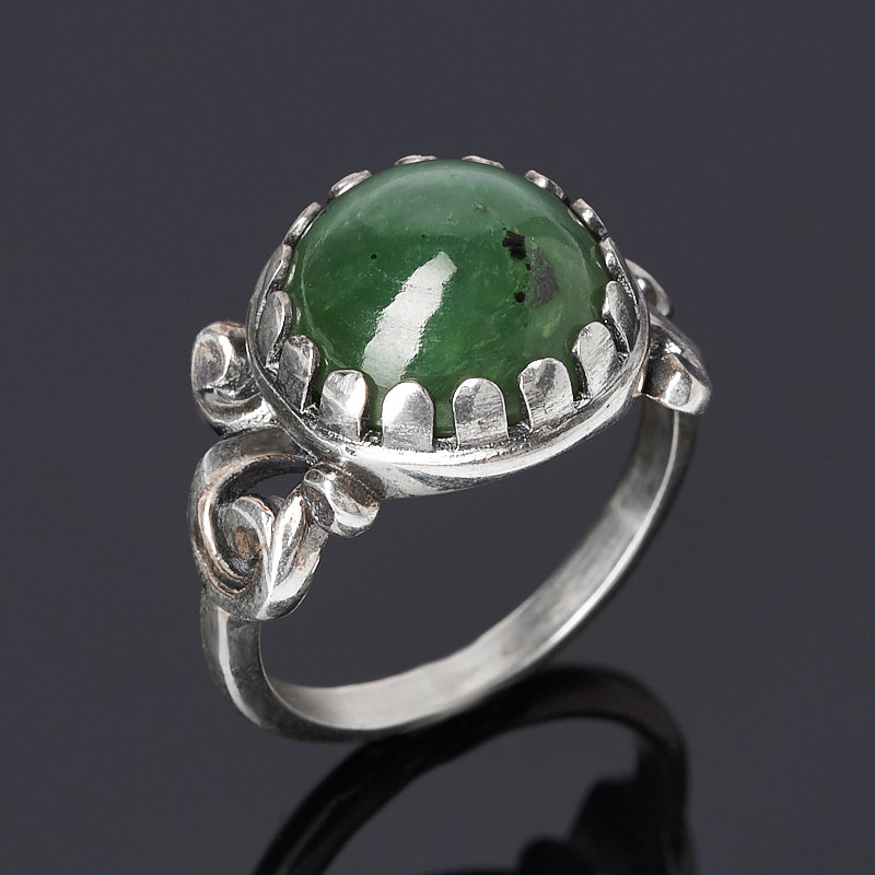 Кольцо нефрит зеленый (серебро 925 пр. оксидир.) размер 18 браслет нефрит зеленый 18 см серебро 925 пр
