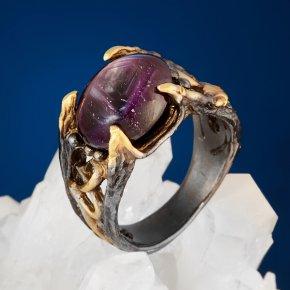 Кольцо корунд звездчатый Нигерия (серебро 925 пр. позолота, родир. черн.) размер 18