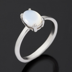 Кольцо перламутр белый Индонезия (серебро 925 пр. родир. бел.) размер 17,5
