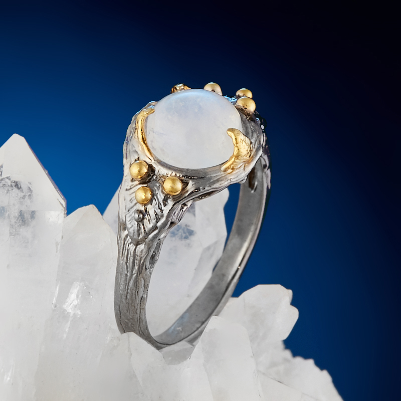 Кольцо лунный камень (серебро 925 пр. позолота, родир. сер.) размер 18,5