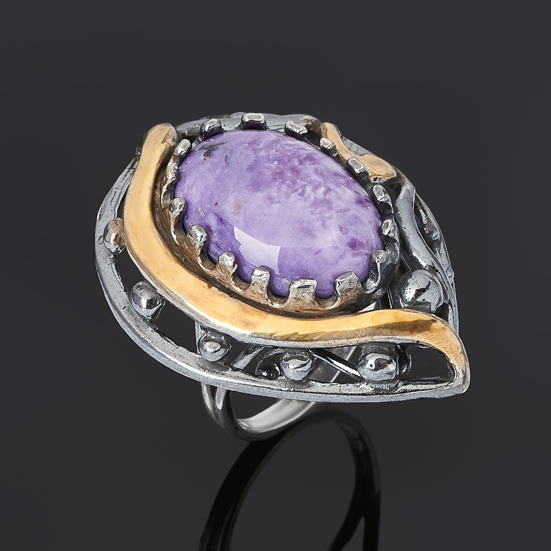 Кольцо чароит (серебро 925 пр. позолота, родир. черн.) размер 18