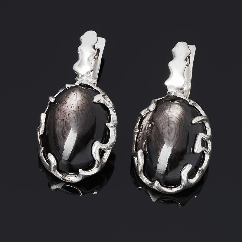 Серьги гиперстен  (серебро 925 пр.)