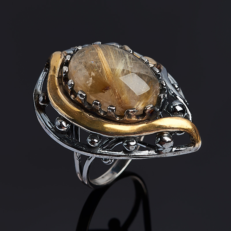 Кольцо рутиловый кварц (серебро 925 пр. позолота, родир. черн.) размер 18