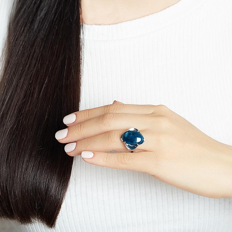 Кольцо апатит синий Бразилия (серебро 925 пр. родир. бел.) размер 18