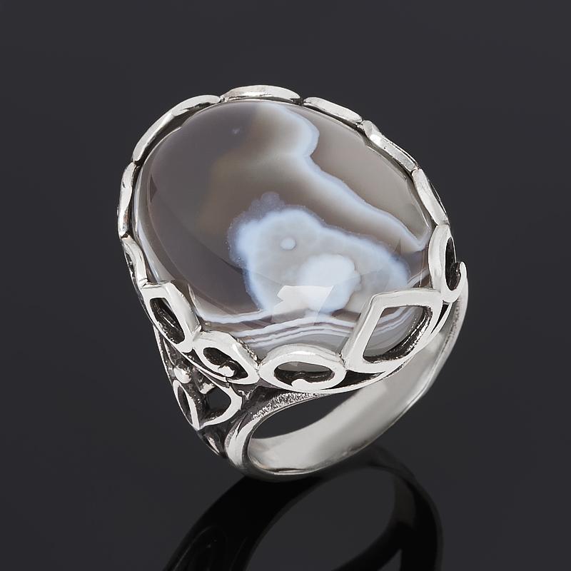Кольцо агат серый (серебро 925 пр. оксидир.) размер 17,5