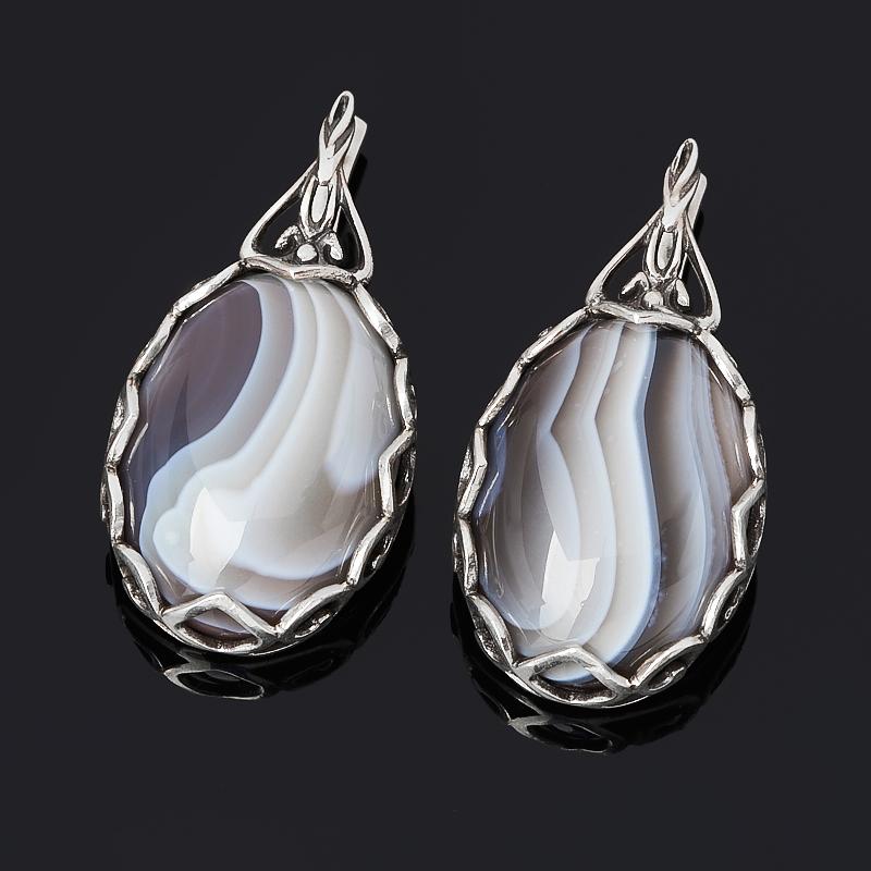 Серьги агат серый (серебро 925 пр. оксидир.)