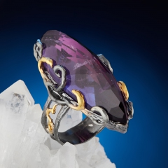 Кольцо аметист Индия (серебро 925 пр. позолота, родир. черн.) огранка размер 16,5