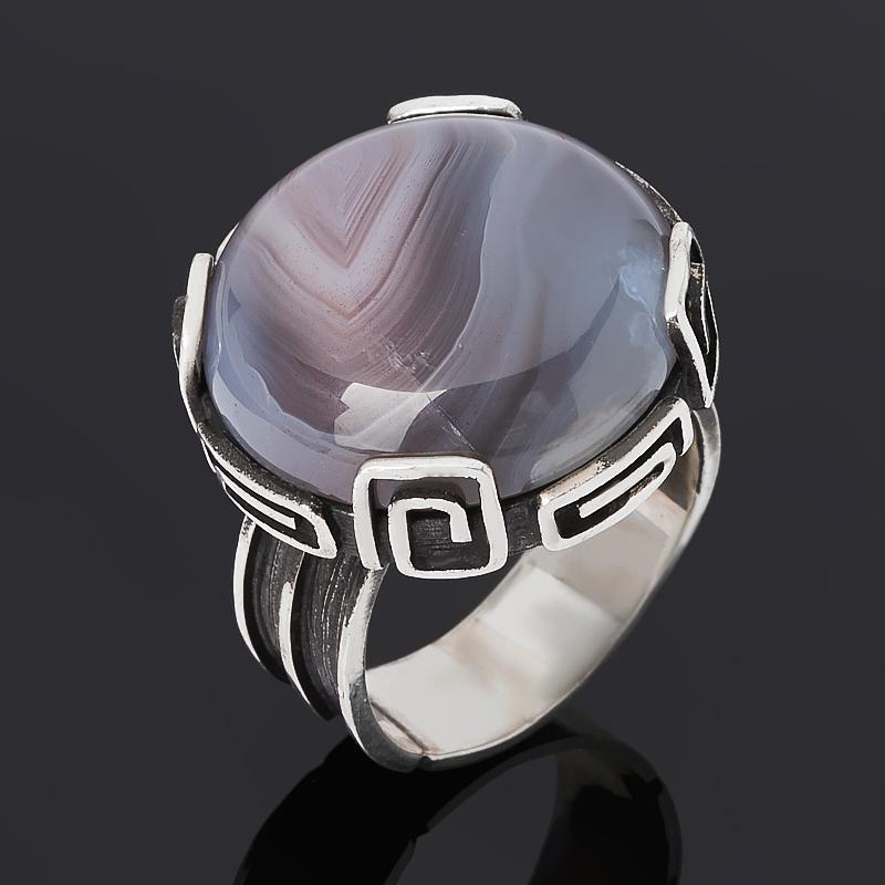 Кольцо агат серый (серебро 925 пр. оксидир.) размер 18,5