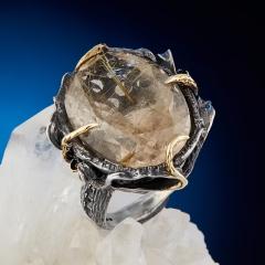 Кольцо рутиловый кварц Бразилия (серебро 925 пр. оксидир., позолота) огранка размер 17,5