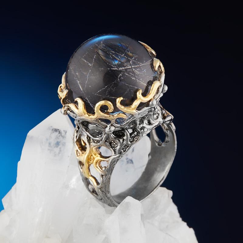 Кольцо кварц с турмалином (серебро 925 пр. позолота, родир. сер.) размер 18