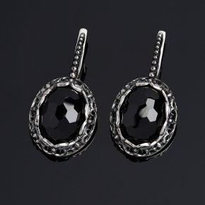 Серьги черная шпинель Шри Ланка (серебро 925 пр. оксидир.) огранка