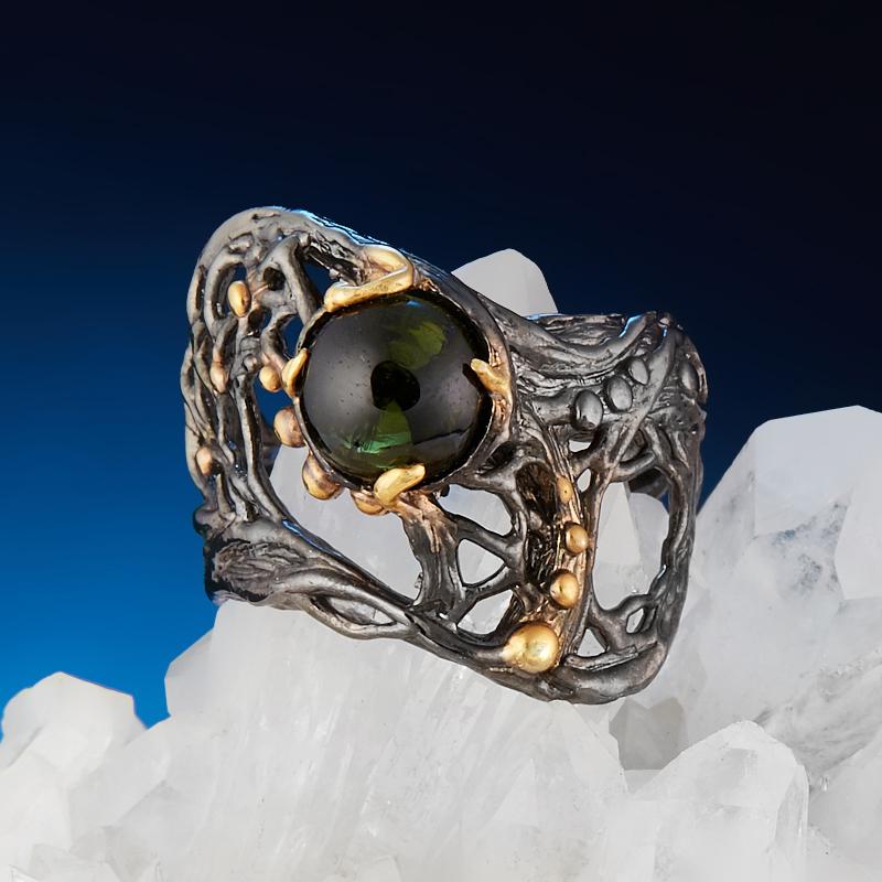 Кольцо турмалин зеленый (верделит) Бразилия (серебро 925 пр. позолота, родир. черн.) размер 18