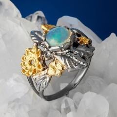 Кольцо опал благородный белый Эфиопия (серебро 925 пр. позолота, родир. сер.) размер 16,5