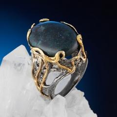 Кольцо опал благородный черный Австралия (серебро 925 пр. позолота, родир. сер.) размер 17