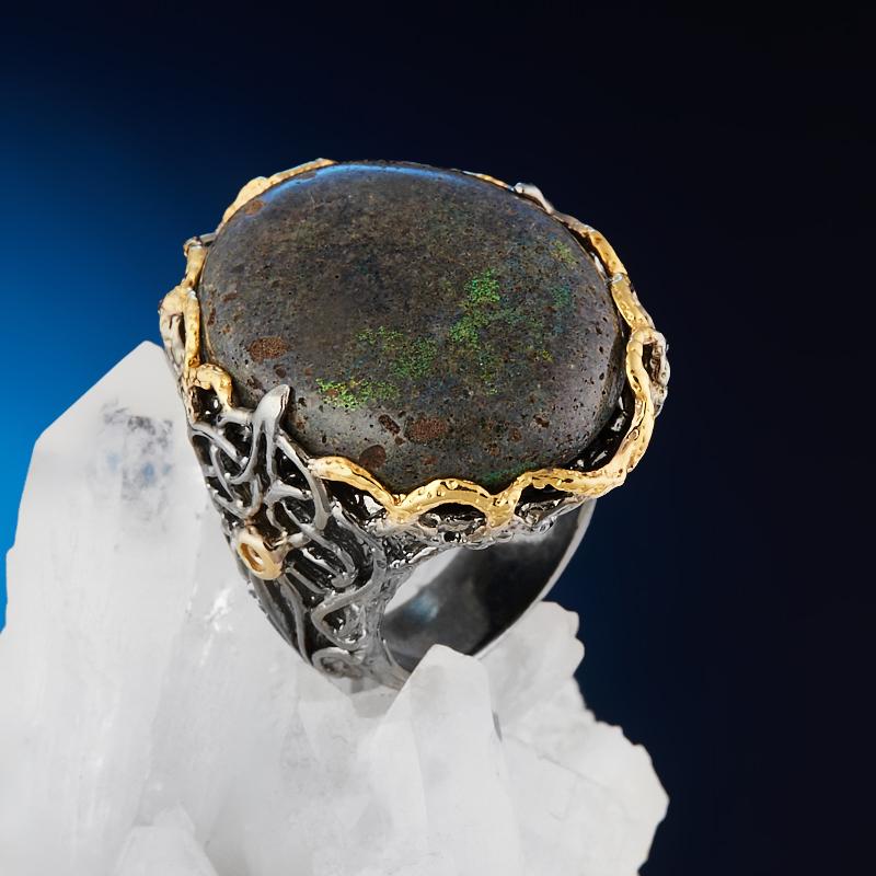Фото - Кольцо опал благородный черный (серебро 925 пр. позолота, родир. черн.) размер 18 кольцо лабрадор серебро 925 пр родир черн позолота размер 18