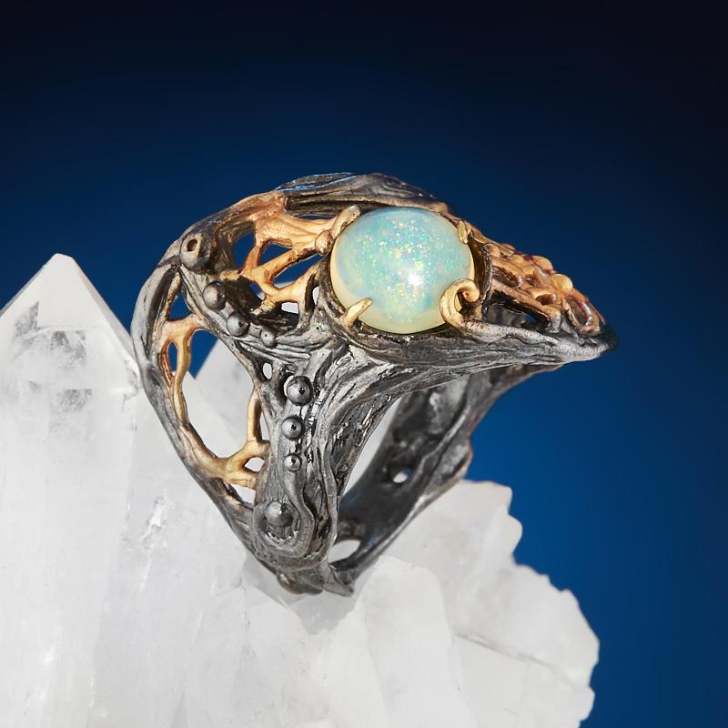 Кольцо опал благородный голубой Эфиопия (серебро 925 пр. позолота, родир. черн.) размер 17