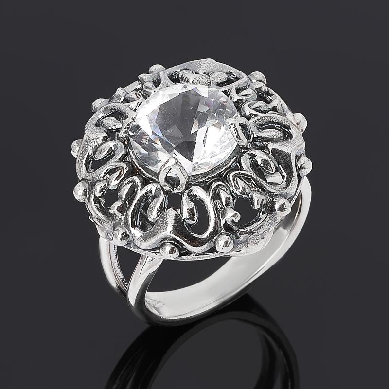 Кольцо горный хрусталь (серебро 925 пр. оксидир.) огранка размер 17