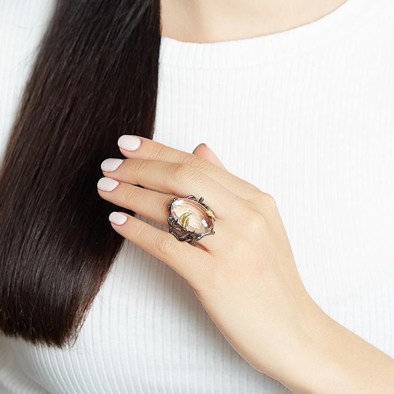 Кольцо горный хрусталь Бразилия (серебро 925 пр. позолота, родир. черн.) огранка размер 18