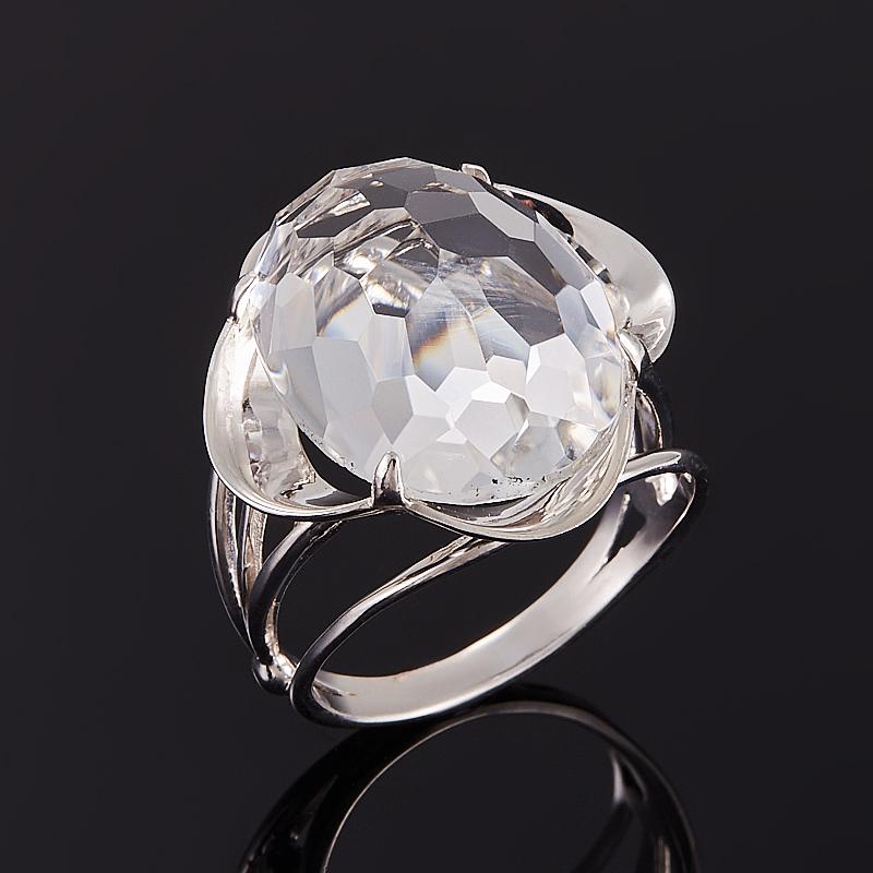 Кольцо горный хрусталь (серебро 925 пр. родир. бел.) огранка размер 17