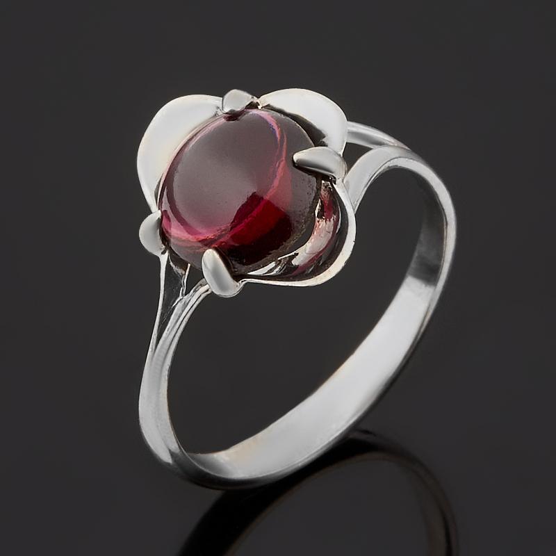 Кольцо гранат альмандин Индия (серебро 925 пр. родир. бел.) размер 17,5