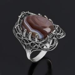 Кольцо агат серый Ботсвана (серебро 925 пр. оксидир.) размер 17,5