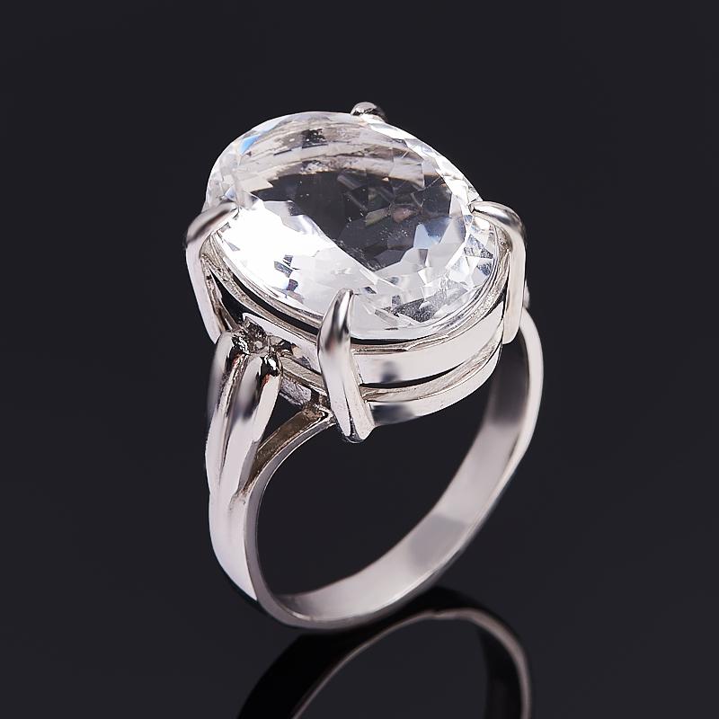 Кольцо горный хрусталь (серебро 925 пр. родир. бел.) огранка размер 18,5