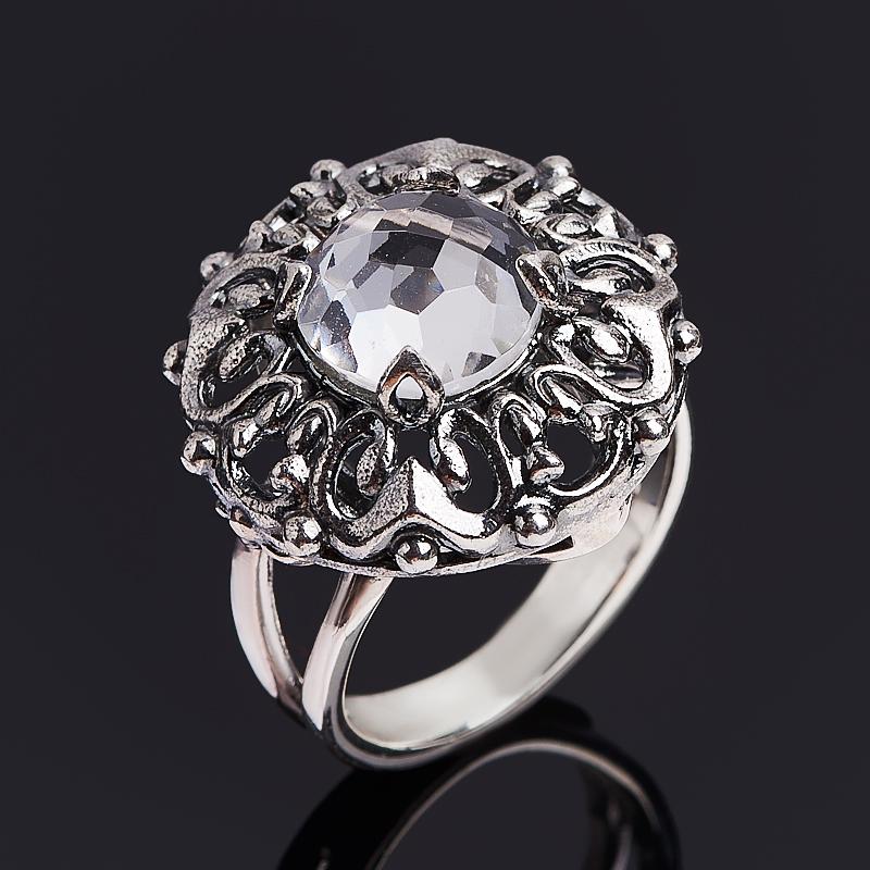 Кольцо горный хрусталь (серебро 925 пр. оксидир.) огранка размер 17,5