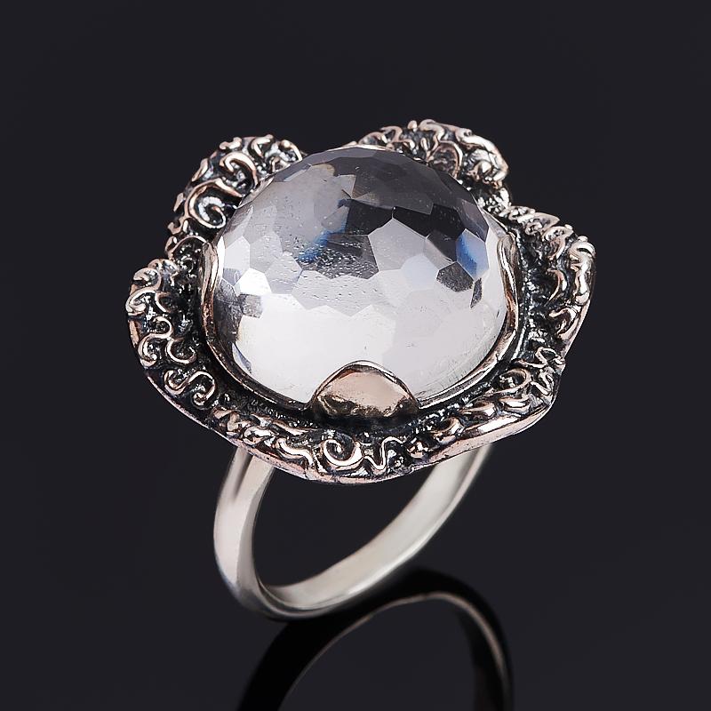 Кольцо горный хрусталь (серебро 925 пр. оксидир.) огранка размер 18