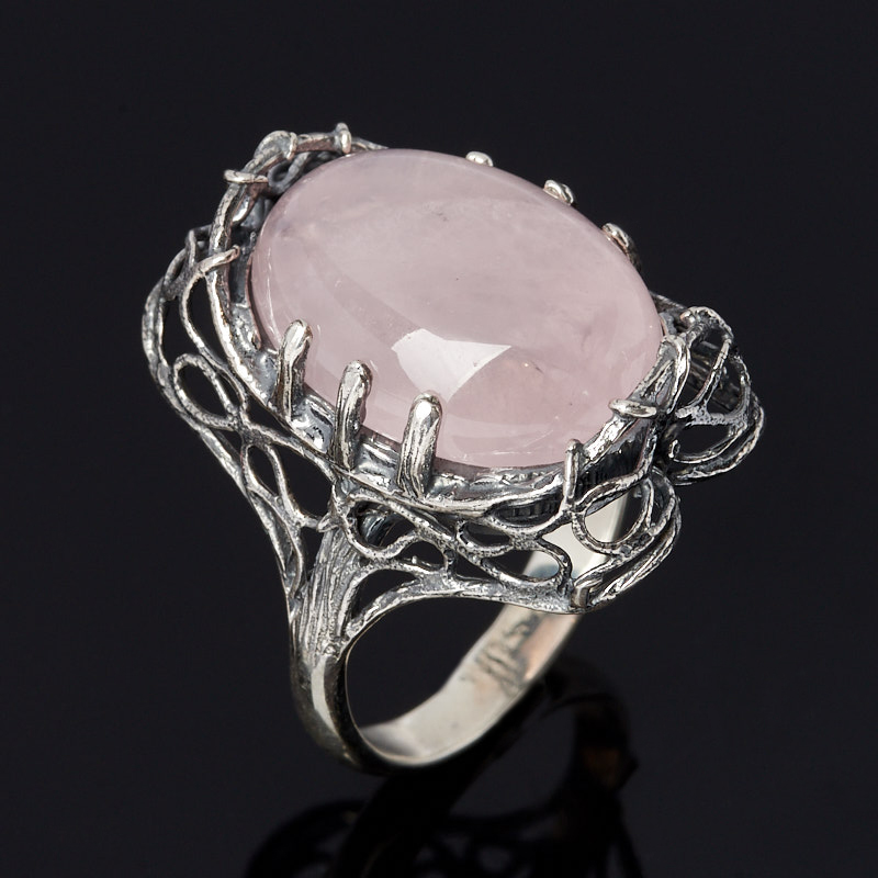 Кольцо розовый кварц  (серебро 925 пр. оксидир.) размер 18,5