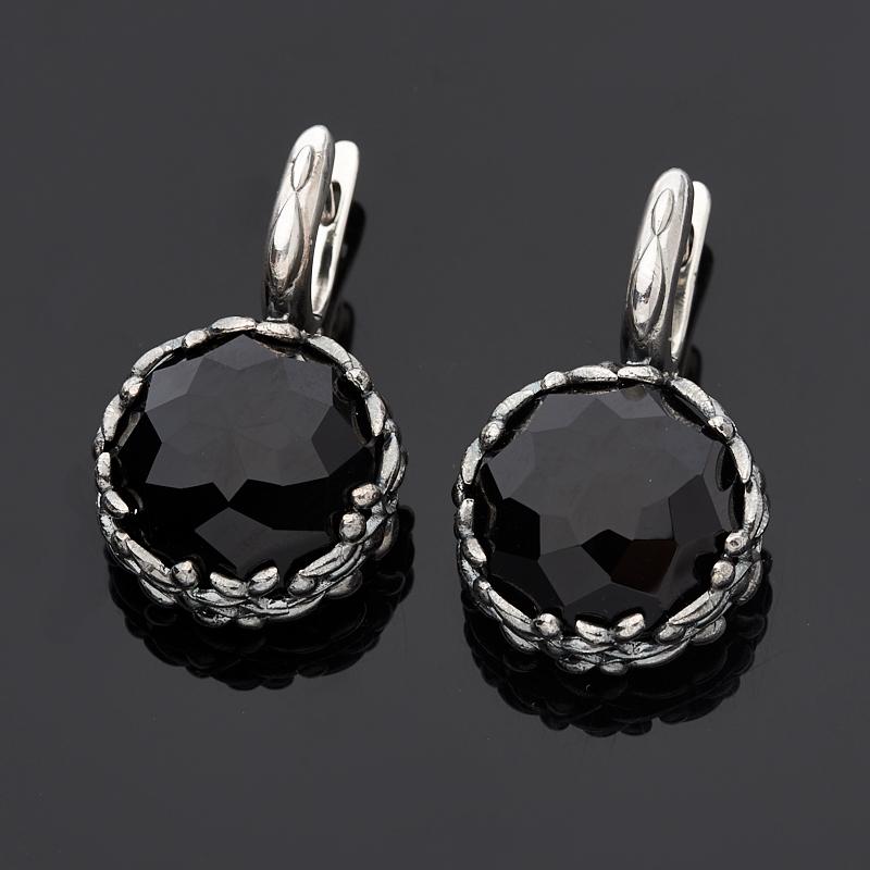 Серьги агат черный (серебро 925 пр. оксидир.) огранка