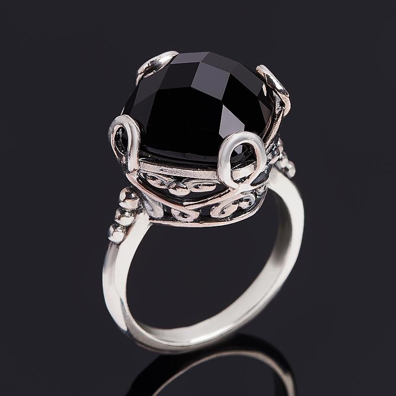 Кольцо агат черный (серебро 925 пр. оксидир.) огранка размер 18,5