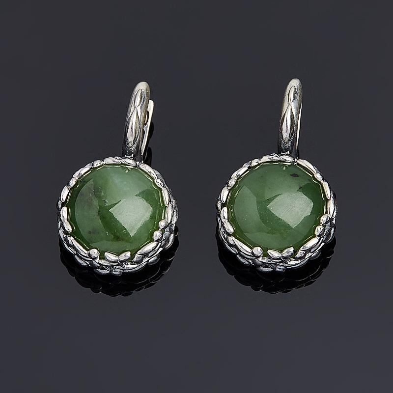 Серьги нефрит зеленый (серебро 925 пр. оксидир.)