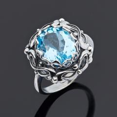 Кольцо топаз голубой Нигерия (серебро 925 пр. родир. черн.) огранка размер 17