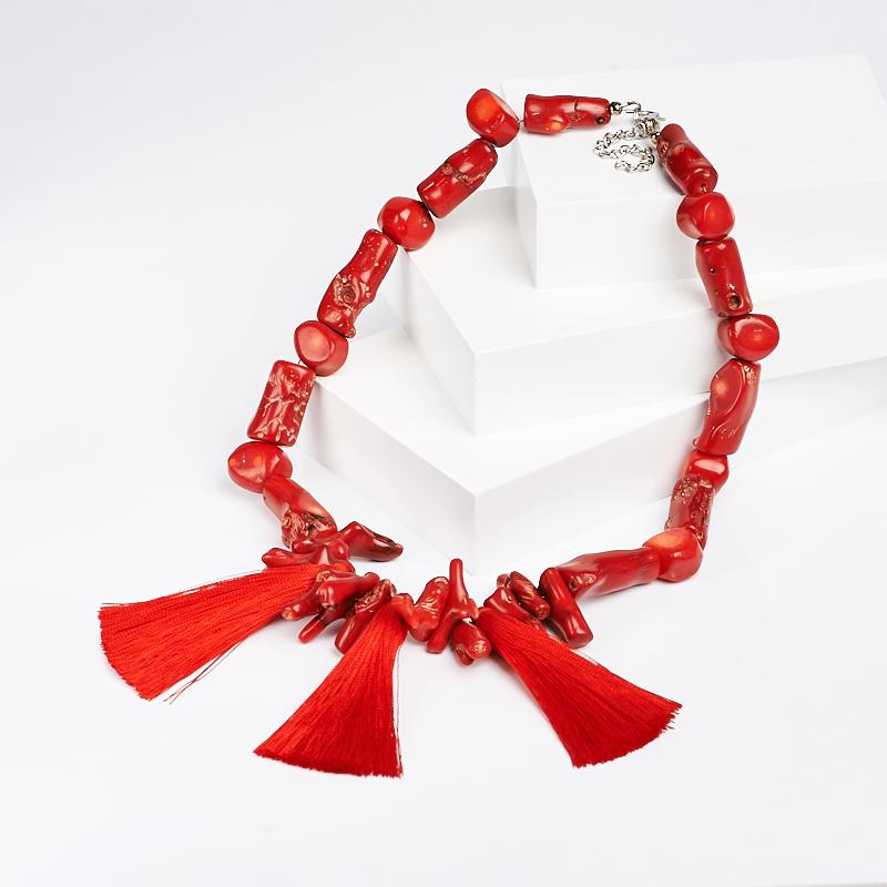 Бусы коралл красный (биж. сплав, текстиль) 46-52 см