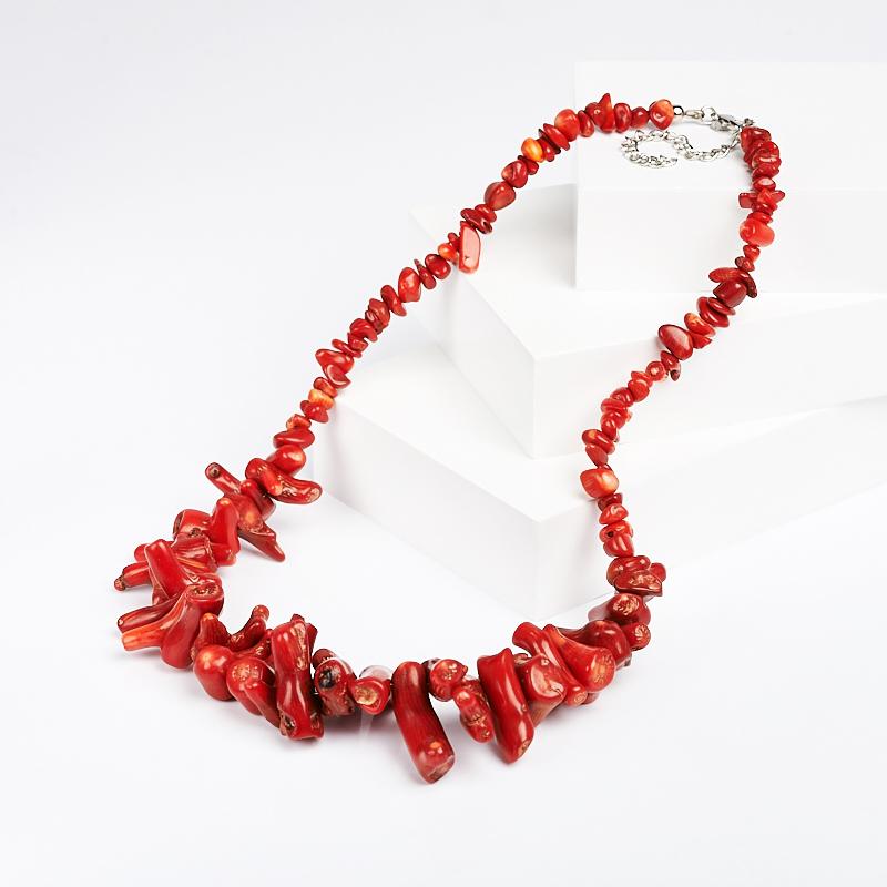 Бусы коралл красный (биж. сплав) 48-54 см